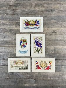 Five WWI Embroidered Silk Postcards.