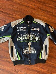 NFL Men's SEATTLE SEAHAWKS SUPER BOWL XLVIII CHAMPIONS Snap Up Jacket Size XL