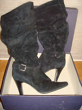 Black Suede Knee-High Boots by Donna Piu  Sexy 3 1/2 Heel sz 7M