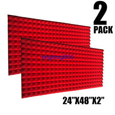 2 Pack RED Acoustic Foam Sound Absorption Pyramid Studio Treatment Wall Panels