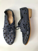 MOLLINI Quartet Womens Navy Blue Leather Flat Lace Up Loafers Shoes - Size 38