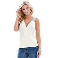 Women Summer Chiffon Lace Crochet Tank Top Sleeveless V neck Blouse Fitted Vest