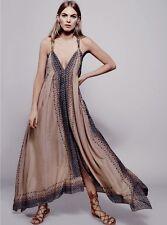 NEW Free People tan Merida Embellished Handkerchief Hem Swing Maxi Dress XS / S