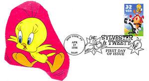 3204 32c Sylvester and Tweety Color Copy laser cachet of Tweety Bird [210677]