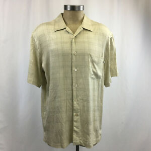 Solitude Camp Shirt Mens L Subtle Palm Trees Short Sleeve Vanilla New Venture
