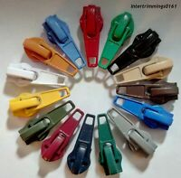EXTRA ZIP SLIDERS FOR No.6 CONTINUOUS ZIPS, CHOOSE COLOUR & QUANTITY, FREE P&P