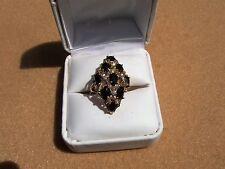 vintage estate 14k yellow gold onyx & diamond ring size 8