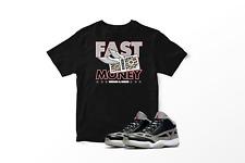 Custom T-Shirt to match Air Jordan 11 Low IE Black Cement. Fast Money Gang.