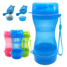 Pet Cat Dog Outside Travel Drinking Water Bottle Cup & Food Container 2 in 1
