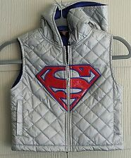 Warner Bro.Silver Nylon Quilted Superman Zippered Vest-Red Shiny S-Hood-4-Pocket