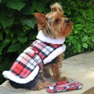 Doggie Design Red & White Plaid Fur-Trimmed Dog Harness Coat & Leash XS-2XL