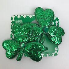 St Patricks Day Hair Accessory Green Glitter Shamrocks Hair Clips Set of 2