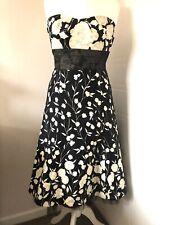 Black Cream Floral Strapless Dress Size 12 Boned Tulle Prom Party Occasion 50's