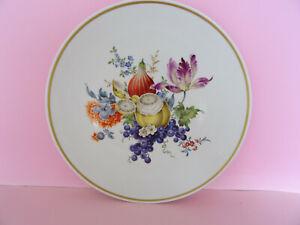 Meissen Wandteller feine Frucht / Obstmalerei mit Blumen 1.Wahl