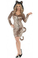Brand New Leopard Cat Mini Dress Adult Costume