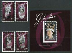 Gibraltar 2013, 60th Anniversary of Coronation of QEII sg1490/3 & MS1494 MNH