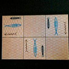 6-Never Set Vtg Mexican Mcm Dal Monte Fish Tiles Rare and Fabulous.150 available
