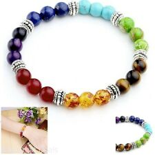 Chakra Stone Bracelets Round Beads Fashion Gift Unisex 7 Inches Colorful Design