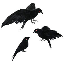 3Pcs Fake Crow Prop Black Feathered Crow Ravens Outdoors Indoors Decoration