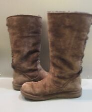 UGG ROSEBERRY US 6 BOOTS BROWN SUEDE TALL LACE UP BACK SHEEPSKIN FUR 5734 $230