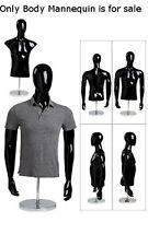 "Retails Round Chrome Based Glossy Black Male Half Body Form 37 1/2"" Chest"