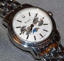 Bulova Men's Moon Phase Swiss 96C34 Chronograpgh Watch Stainless Steel NEW BATT!