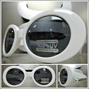Mens Women CLASSIC VINTAGE 50's RETRO Style SUN GLASSES White Oval Fashion Frame