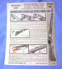 Remington Nylon 66 Apache Black Rifle Original Owner Instruction Manual 1969