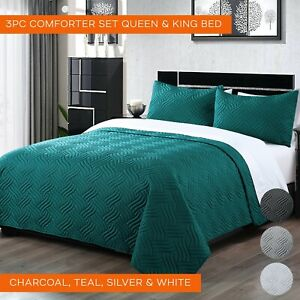 3PC Light Weight Comforter Sets Queen King Size Bedspreads Sets King Pillowcases