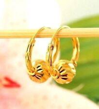 22K THAI BAHT DP YELLOW GOLD ~ DIAMOND CUT BEAD BEADED ETERNITY HOOP EARRINGS