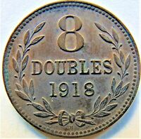1918H GUERNSEY 8 Doubles, brown grading UNCIRCULATED.