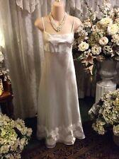 Sensational ~ Private Luxuries Natori White Satin w/Lace Elegant Nightgown ~Sz L