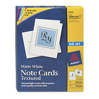 Avery Textured Note Cards Inkjet 4 1/4 x 5 1/2 Uncoated White 50/Bx w/Envelopes