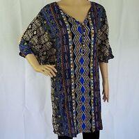 Shirt Dress NEW Cold Shoulder Soft Rayon Womens Size 12 14 16 Tribal Print