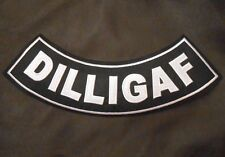 DILLIGAF OUTLAW BIKER MOTORCYCLE JACKET VEST BADGE IRON ON PATCH MADE IN USA 11""