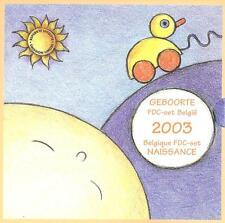 """BELGICA BELGIUM 2003. CARTERA """"BABY"""" EUROSET 8 MONEDAS + MEDALLA - BU FDC"""