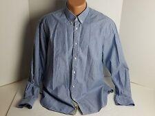 Zara Man Men's Casual Long Sleeve Blue Pin Stripe Button Up Tailored Fit Cotton