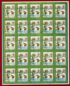 Korea 1937 #TCS6, Sherwood Haeju Christmas Seal, Imperf Sheet of 25