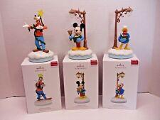 Hallmark Disney Christmas Carolers Mickey Goofy Donald Ornaments Set 2018 New