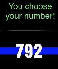 "Thin Blue Line CUSTOM # License Plate POLICE REFLECTIVE CAR Tag METAL 6""x12"""
