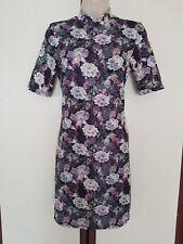 Topshop ladies floral bodycon mini dress UK 8 high neck shortsleeve