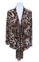 Peter Nygard Leopard Print Draped Asymmetrical Cardigan Jacket Womens Sz M 10-12