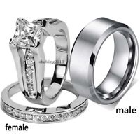 2 Rings Couple Rings Stainless Steel White Gold Filled CZ Women's Wedding Ring