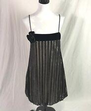 VTG Jessica McClintock Gunne Sax spaghetti strap Black Sequin velvet dress 11