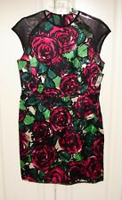 NWT Nanette Lepore sz 8 Daring Rose dress berry multi sheer mesh shoulders