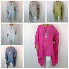 Linen Scoop Neck Casual Plus Size Tops & Shirts for Women