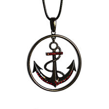 Anchor Charm Red Rhinstone Pendant Necklace with Black Cord