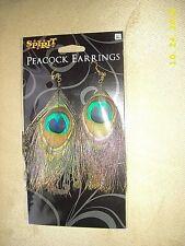 New SPIRIT Long Peacock Feather Earrings Golden Women Shoulder Dusters HALLOWEEN