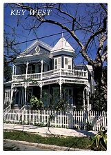 Key West Florida Postcard Old House Large Porches Restored Balusters