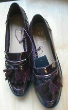 MOD STYLE BURGUNDY PATENT TASSEL LOAFERS